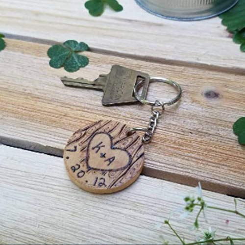 personalized couples initials and date keychain - handmade wooden design - anniversary gift idea - for wife husband - bohemian valentines - Wooden Keychain Handmade