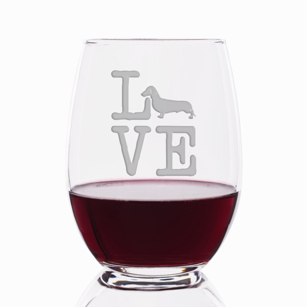 Love Dachshund Engraved Stemless 21 oz Wine Glass - 4pcs by Mic & Co