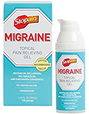 Stopain Migraine Topical Pain Relieving Gel, 1.62 fl. oz, Safe and Effective Migraine Relief, Safe to Use With Other Migraine Medication, Effective At Any Stage of a Migraine, No Known Side Effects