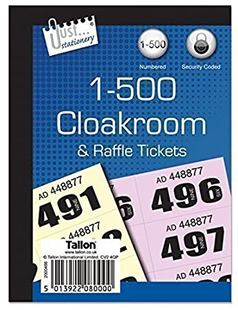 cloakroom raffle tickets book of 500 in pack of 5 amazon co uk