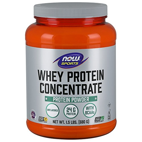 - NOW Sports Whey Protein Concentrate Unflavored Powder,1.5-Pound