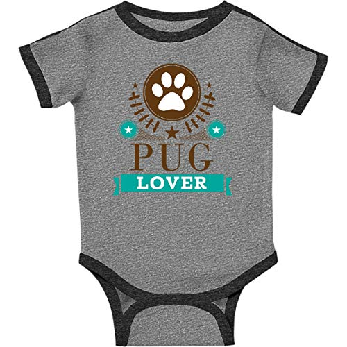 (inktastic - Pug Lover Infant Creeper 12 Months Ringer Heather and Smoke 1d89e)