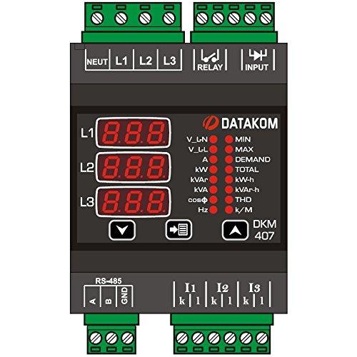 DATAKOM DKM-407 Electric Network Analyzer, DIN Rail, Thd, RS-485, 1-Input, 1-Output