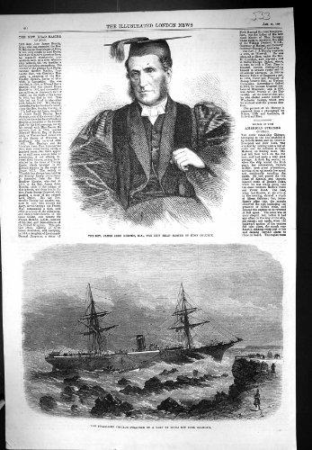 Antique Print of 1868 Rev. James John Hornby Head Master Eton College Steam Ship Chicago Cork