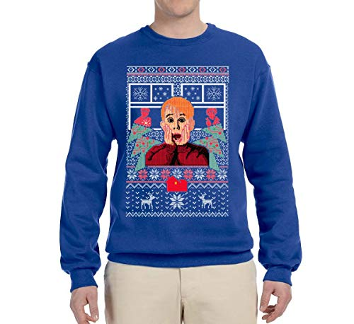 Kevin | Merry Xmas Movie Fan | Mens Ugly Christmas Crewneck Graphic Sweatshirt, Royal, X-Large -