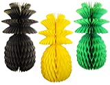 Large Solid Colored 13 Inch Honeycomb Pineapple Party Decoration Kit (Jamaican - Black, Yellow, Green Solid)