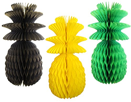Large Solid Colored 13 Inch Honeycomb Pineapple Party Decoration Kit (Jamaican - Black, Yellow, Green Solid) by Devra Party