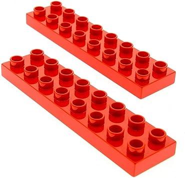 2x Lego Duplo Bau Basic Platte neu-dunkel grau 2x8 Stein Set 4785 4777 44524