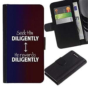 All Phone Most Case / Oferta Especial Cáscara Funda de cuero Monedero Cubierta de proteccion Caso / Wallet Case for Sony Xperia Z1 Compact D5503 // BIBLE Seek Him Diligently