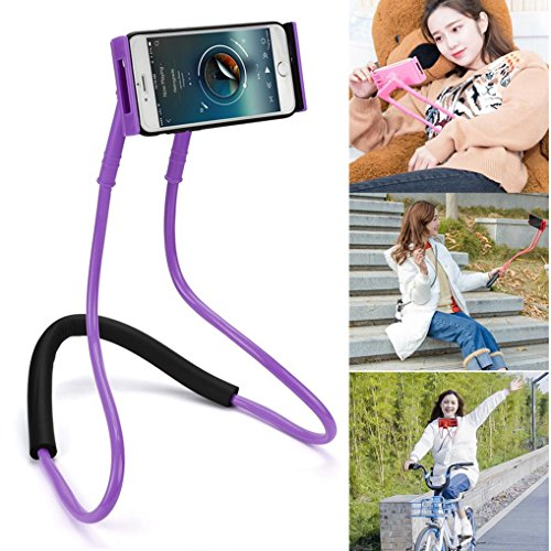 Hometom Cell Phone Stand, Universal Lazy Hanging Neck Phone Stand Mount Necklace Support Bracket Holder (Purple)