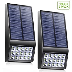 Solar Lights Outdoor - XINREE 15 LED Solar Powered Lights DIM Mode with Motion Sensor Light Wireless Waterproof Security Lighting for Garden Patio Yard Path Fence Step Deck - 2 PACK