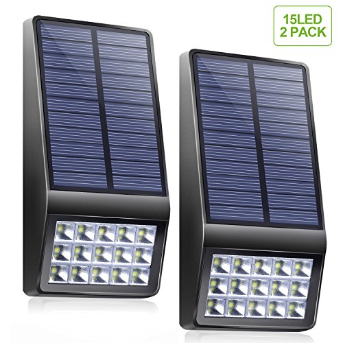 Solar Lights Outdoor - XINREE 15 LED Solar Powered Lights DIM Mode with Motion Sensor Light Wireless Waterproof Security Lighting for Garden Patio Yard Path Fence Step Deck - 2 Pack by XINREE