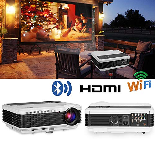 EUG Wireless Projector HD 1080P 3900 Lumen Video Projectors Outdoor Movie Android System,Airplay Miracast Wifi USB HDMI LED LCD Multimedia Projeyector for Home Theater Game Consoles Apps PC DVD from EUG