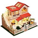 PSFS Mini DIY Doll House Assemble Miniature Dollhouse,LED Furniture Kit Xmas Gift (As Shown)