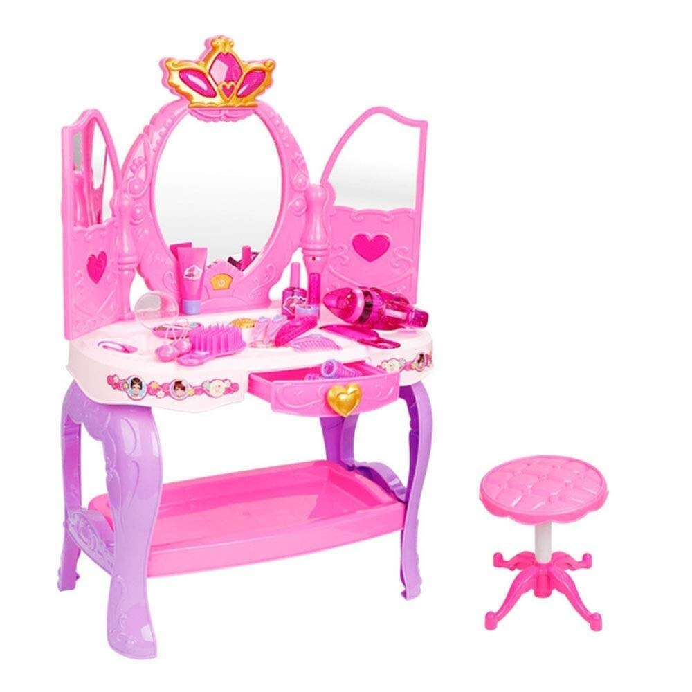 LIULAOHAN Tent, Children's Fun Toys Play Girl Dresser with Princess Dressing Table Mirror Cosmetics and Work Hair Dryer Best Birthday Gift Interesting Toy (Color : Pink, Size : 703155cm)