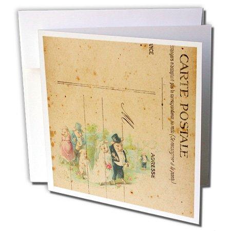 "3dRose Carte Postale Wedding Pigs Digital Art - Greeting Cards, 6 x 6"", Set of 6 (gc_130431_1)"