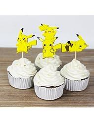 VM Pokemon Go PIKACHU 24 Piece Cupcake Topper (double sided)