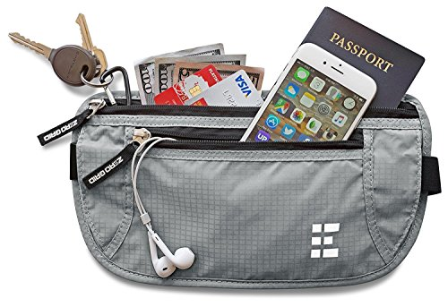 Zero Grid Money Belt w/RFID Blocking - Concealed Travel Wallet & Passport Holder 1 PROTECTS YOUR VALUABLES & IDENTITY - A money belt for travel for men and women. This belt wallet for travel conceals cash, credit cards & other valuables from pickpockets. Built in RFID Blocking safeguards your passport and credit cards and personal information inside the wallet belt against identity theft. BONUS GIFT - 7 RFID Blocking Sleeves for your ultimate peace of mind (6 Credit Card & 1 Passport) - For use ONLY when your passport or credit cards aren't inside the money belt. DESIGNED FOR SAFE INTERNATIONAL TRAVEL - Invaluable for crowded marketplaces, airports, an airplane, buses, trains, sporting events and music festivals. A thin travel belt and passport wallet for women and men that is virtually invisible to thieves, feel secure in any environment. Wear under your clothes for pickpocket proof protection. COMFORTABLE & FULLY ADJUSTABLE - Constructed from ultra-lightweight, water-resistant 210D Ripstop Nylon. Breathable, moisture-wicking back eliminates uncomfortable moisture and heat. Soft elastic waistband adjusts to fit Men and Women.