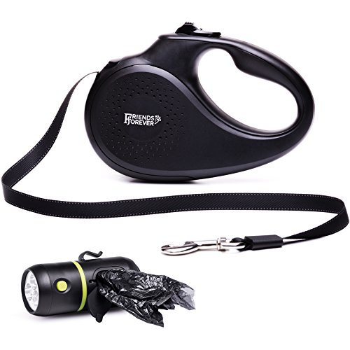 (Friends Forever Retractable Dog Leash - Reflective Nylon Retractable Leash for Dogs with Flashlight and Waste Bag Dispenser, Small)