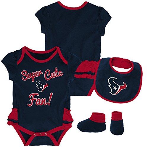 (Outerstuff NFL NFL Houston Texans Newborn & Infant Mini Trifecta Bodysuit, Bib, and Bootie Set Deep Obsidian, 6-9 Months)