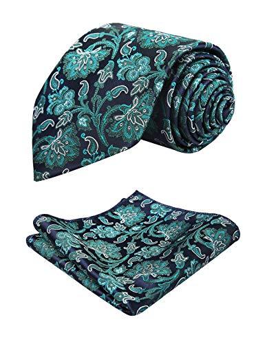 - Alizeal Mens Floral Pattern Tie and Handkerchief Set, Dark Green