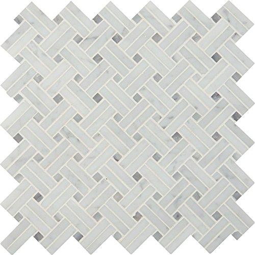 Basketweave Tile Pattern (M S International Carrara White Basketweave 12.2 In. X 10 mm Polished Marble Mesh-Mounted Mosaic Tile, (10.3 sq. ft, 10 pieces per case))