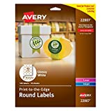 Kyпить Avery Easy Peel Permanent Print-To-The-Edge Round Labels, Laser/InkJet, 2-Inch, Glossy White, Pack of 120 labels (22807) на Amazon.com