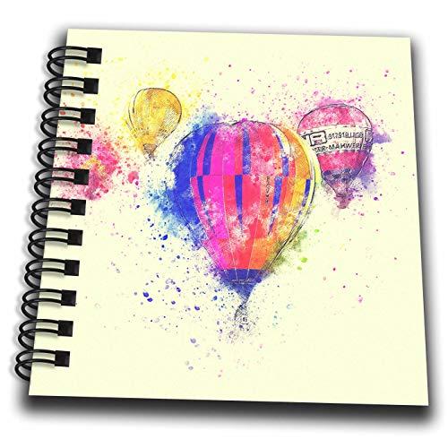 3dRose Andrea Haase Art Illustration - Hot Air Balloons Watercolor Painting - Mini Notepad 4 x 4 inch (db_288990_3)
