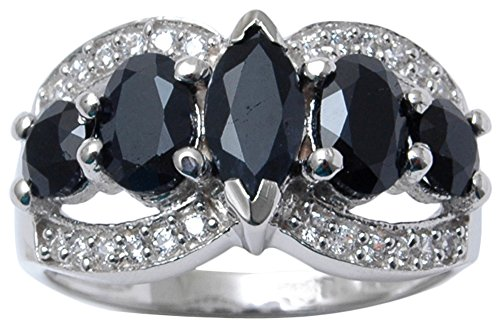 - Banithani 925 Sterling Silver Gorgeous Charm Black Onyx Ring Indian Fashion Women Jewelry