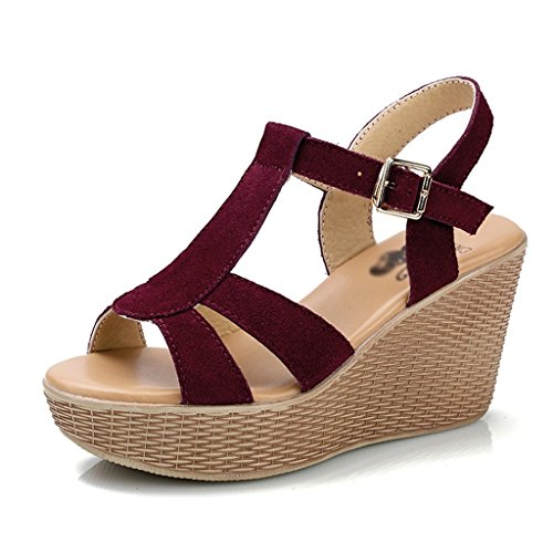 Wine red Female Wine ZCJB Red Women's Muffin Genuine Waterproof 35 Heel Shoes Platform Platform Summer Slope Cake Casual Shoes Leather Roman Color Size Sandals High qgxSERwq