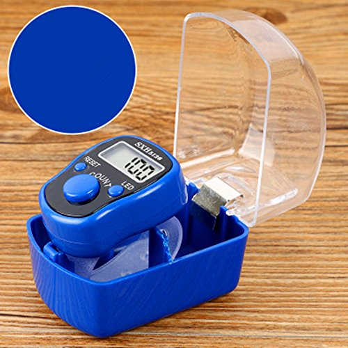 Dealetech Adjustable Electronic Finger Counter Ring Hand Digital Tally Counting with Luminous LED Light for Golf Sports (deep Blue with led)