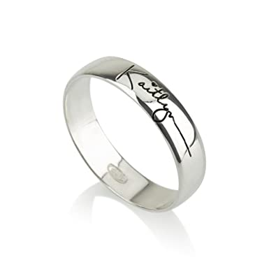 Amazon Com Signature Ring Handwriting Ring Silver Ring Word Ring