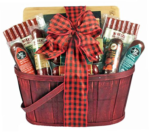 Meat Snacks Christmas Gift Basket | Sausage, Salami, Beef Sticks, Jerky and Crackers by Gifts to Impress