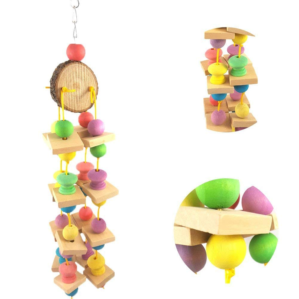 Colorful Wooden Bead Parrot Bird Hanging Swing Bite Climb Chewing Cage Toy Gift - Random Color Premium Quality by Yevison