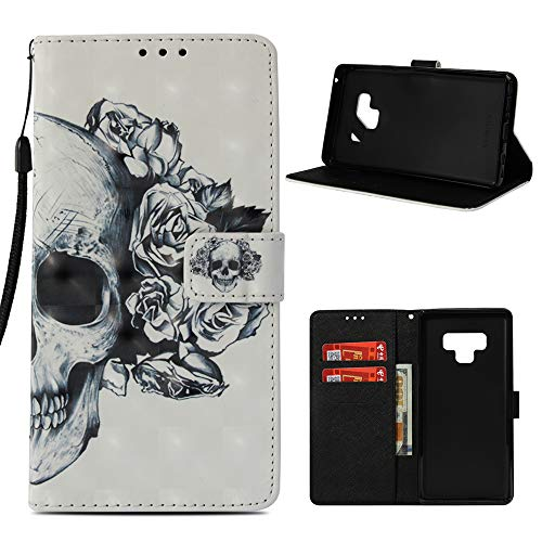 Galaxy Note 9 Case, Mavis's Diary 3D Colorful Painted Grey Flowers Wallet Shock Absorption TPU Bumper Drop Resistant Phone Case & Wrist Strap Card Holders for Samsung Galaxy Note 9 - Cool Skull