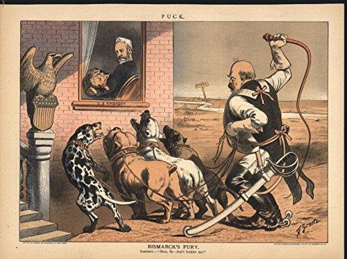 Reviews/Comments Bismarck Fury Dogs Press anti American 1884 antique color lithograph print