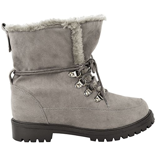 Fashion Thirsty Womens Faux Fur Grip Sole Lace Up Winter Ankle Boots Army Shoes Size Grey Faux Suede 5ud7WX6f