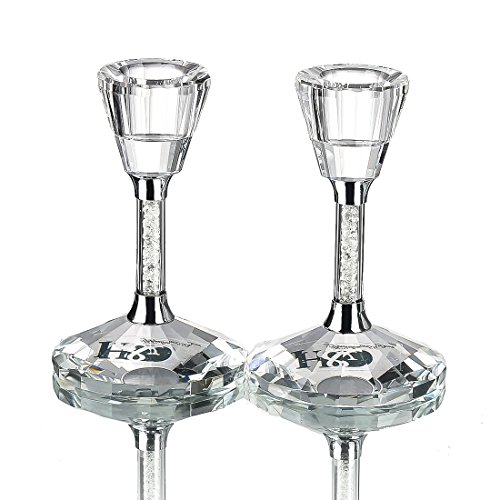 Crystal tealight Holders Clear Candle Holder with Mini Rhinestone Filled - Set of 2