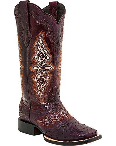 Lucchese Women's Berry Amberlyn Full Quill Ostrich Boot Square Toe Berry 7.5 M US