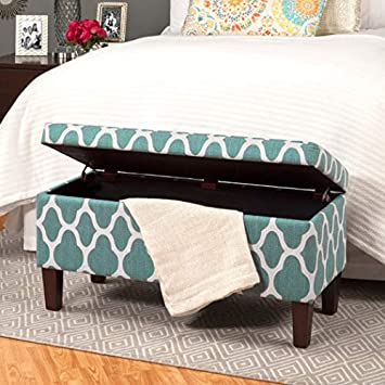 HomePop Upholstered Decorative Storage Ottoman, Teal Blue