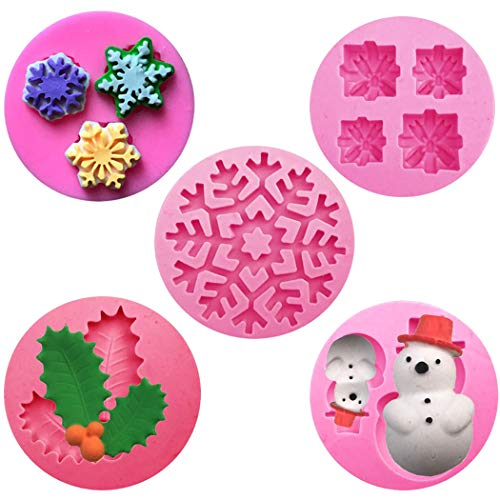 Christmas Fondant Silicone Sugar Mold Cake Decorating, Multi Purpose 3D Molds/Chocolate Fondant/Soap/Candy/Jelly/Ice Cubes/Cake Decoration Molds/Theme Molds/Fimo Molds/Sugarcraft/Clay Molds (Clay 3d Molds)