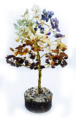 Cleansing Gift - Crocon Natural Color Healing Gemstone Crystal Bonsai Fortune Money Tree for Good Luck, Wealth & Prosperity Spiritual Gift Size-10 INCH (Golden Wire) (seven Chakra)