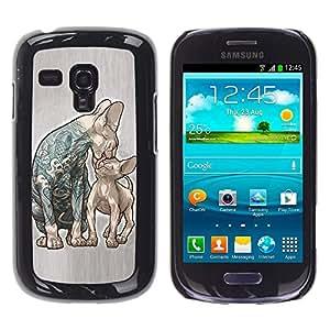 Paccase / SLIM PC / Aliminium Casa Carcasa Funda Case Cover - Cats Mother Kitten Love Ink Tattoo Blue - Samsung Galaxy S3 MINI NOT REGULAR! I8190 I8190N