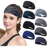 Set of 8 Women's Yoga Sport Athletic Workout Headband For Running Sports Travel Fitness Elastic Wicking Non Slip Lightweight Multi Style Bandana Headbands Headscarf fits all Men & Women
