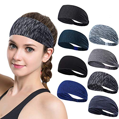 Set of 8 Women's Yoga Sport Athletic Workout Headband For Running Sports Travel Fitness Elastic Wicking Non Slip Lightweight Multi Style Bandana Headbands Headscarf fits all Men & Women by DASUTA