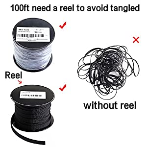 100ft – 1/2 inch PET Expandable Braided Sleeving – Black – Alex Tech braided cable sleeve