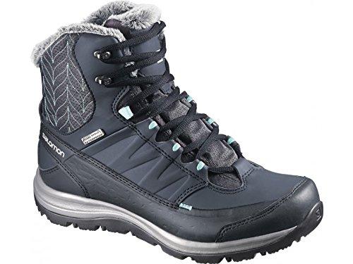 Salomon Womens Kaina Mid CS WP 2 Snow Boots and Free Collapsing Waterbottle Bundle Deep Blue / Slate Blue / Bubble Blue UyLK30Fgy