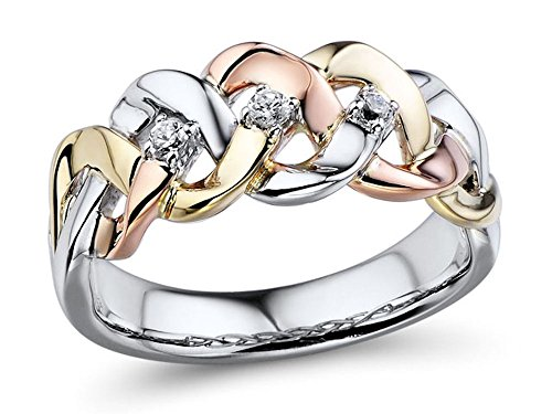 Diamond Wedding Anniversary Band 1/10cttw 10k Yellow and Rose Gold and Rhodium Plated Sterling Silver