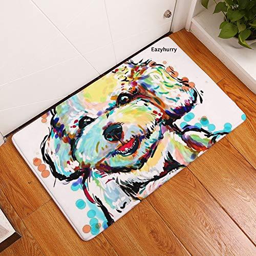 YJBear Thin Lovely Yellow Dog Pattern Floor Mat Coral Fleece Home Decor Carpet Indoor Rectangle Doormat Kitchen Floor Runner 16
