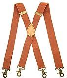 MENDENG Suspenders for Men Brown Bronze Snap Hooks for Belt Loops Elastic X Back